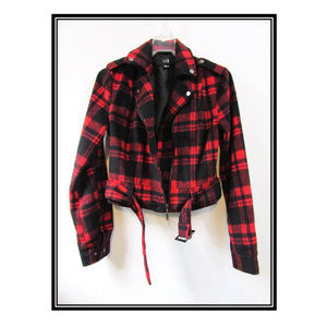 Red and Black Wool Plaid Cropped Jacket